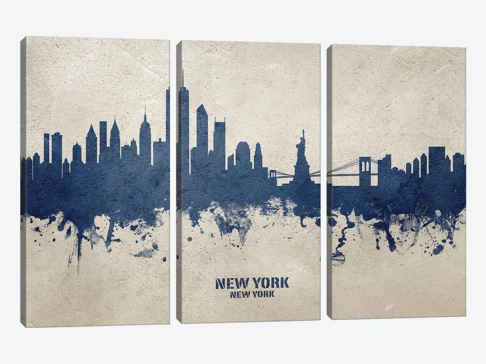 New York New York Skyline Concrete by Michael Tompsett 3-piece Canvas Wall Art