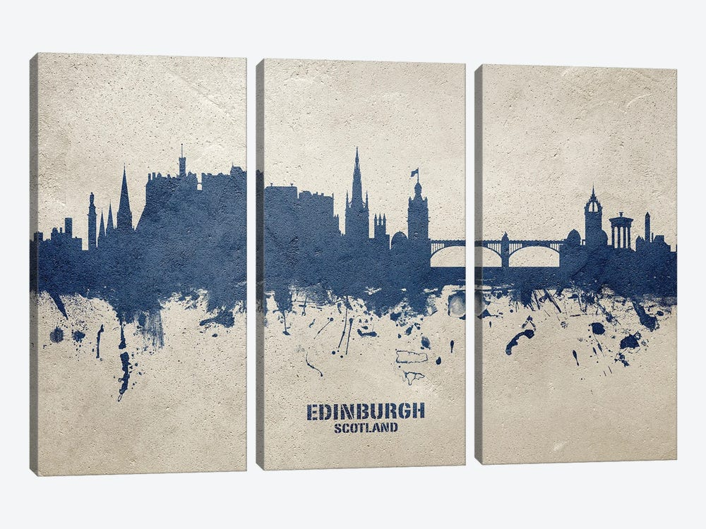 Edinburgh Scotland Skyline Concrete by Michael Tompsett 3-piece Canvas Artwork