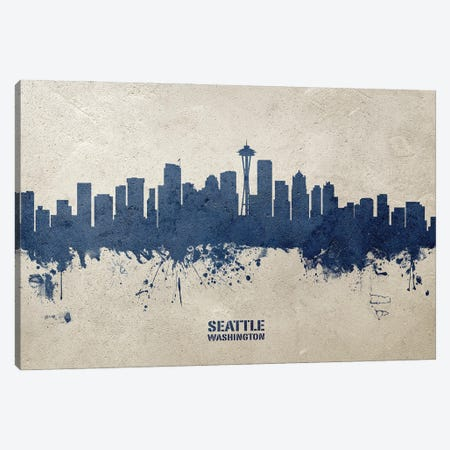 Seattle Washington Skyline Concrete Canvas Print #MTO3029} by Michael Tompsett Art Print