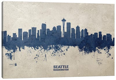 Seattle Washington Skyline Concrete Canvas Art Print