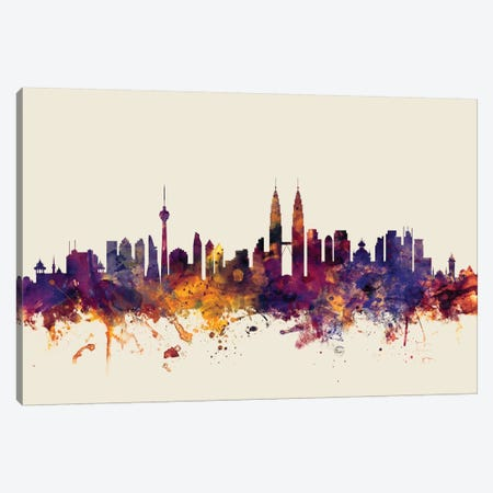 Kuala Lumpur, Malaysia On Beige Canvas Print #MTO302} by Michael Tompsett Canvas Art