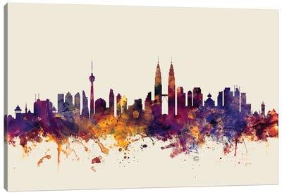 Kuala Lumpur, Malaysia On Beige Canvas Art Print
