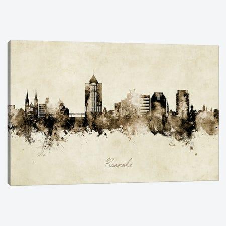 Roanoke Virginia Skyline Vintage Canvas Print #MTO3035} by Michael Tompsett Art Print