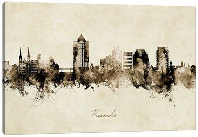 Roanoke Virginia Skyline Vintage Canvas Art Print