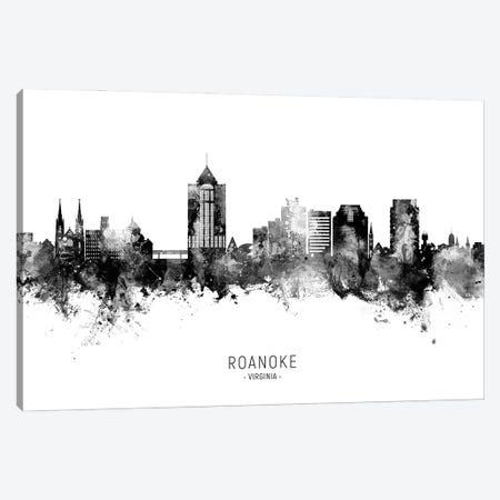 Roanoke Virginia Skyline Name Bw Canvas Print #MTO3036} by Michael Tompsett Canvas Art Print