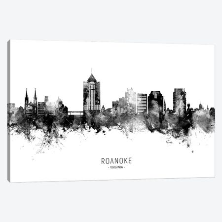 Roanoke Virginia Skyline Name Bw Canvas Print #MTO3036} by Michael Tompsett Canvas Art Print