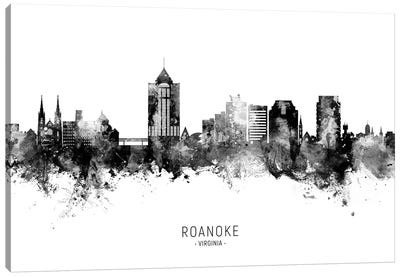 Roanoke Virginia Skyline Name Bw Canvas Art Print