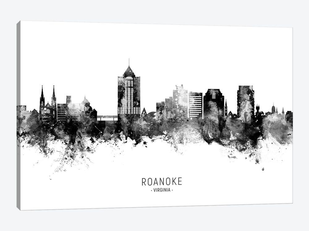 Roanoke Virginia Skyline Name Bw by Michael Tompsett 1-piece Canvas Wall Art