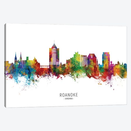 Roanoke Virginia Skyline City Name Canvas Print #MTO3037} by Michael Tompsett Art Print