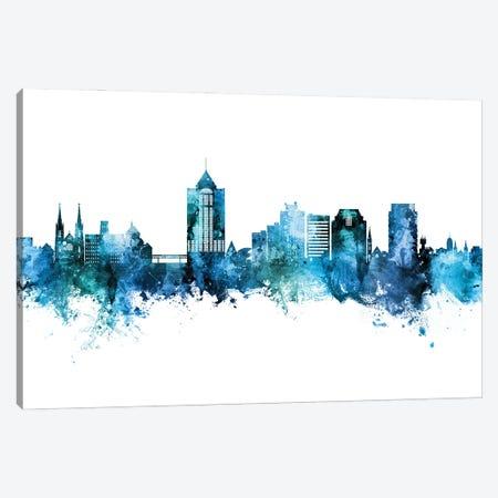 Roanoke Virginia Skyline Blue Teal Canvas Print #MTO3038} by Michael Tompsett Canvas Art