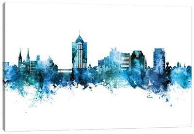 Roanoke Virginia Skyline Blue Teal Canvas Art Print