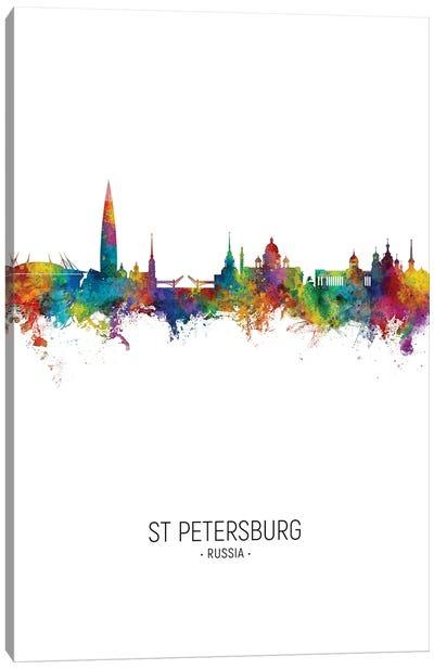 St Petersburg Russia Skyline Portrait Canvas Art Print