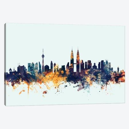 Kuala Lumpur, Malaysia On Blue Canvas Print #MTO303} by Michael Tompsett Canvas Art
