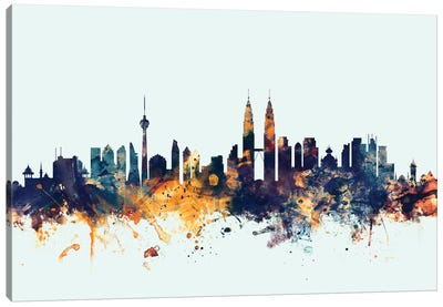 Kuala Lumpur, Malaysia On Blue Canvas Art Print