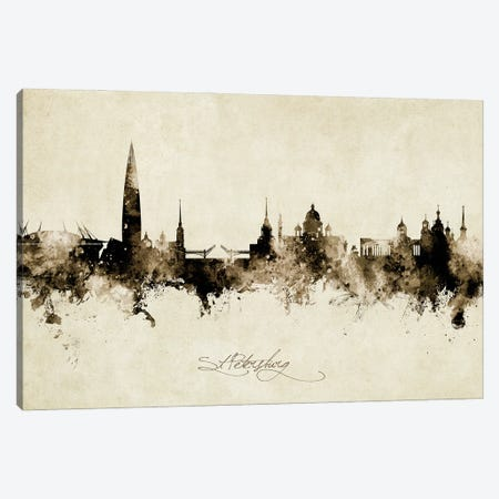 St Petersburg Russia Skyline Vintage Canvas Print #MTO3040} by Michael Tompsett Canvas Art Print