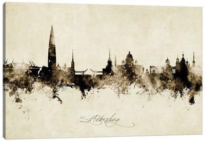 St Petersburg Russia Skyline Vintage Canvas Art Print