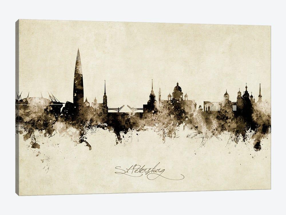 St Petersburg Russia Skyline Vintage by Michael Tompsett 1-piece Art Print