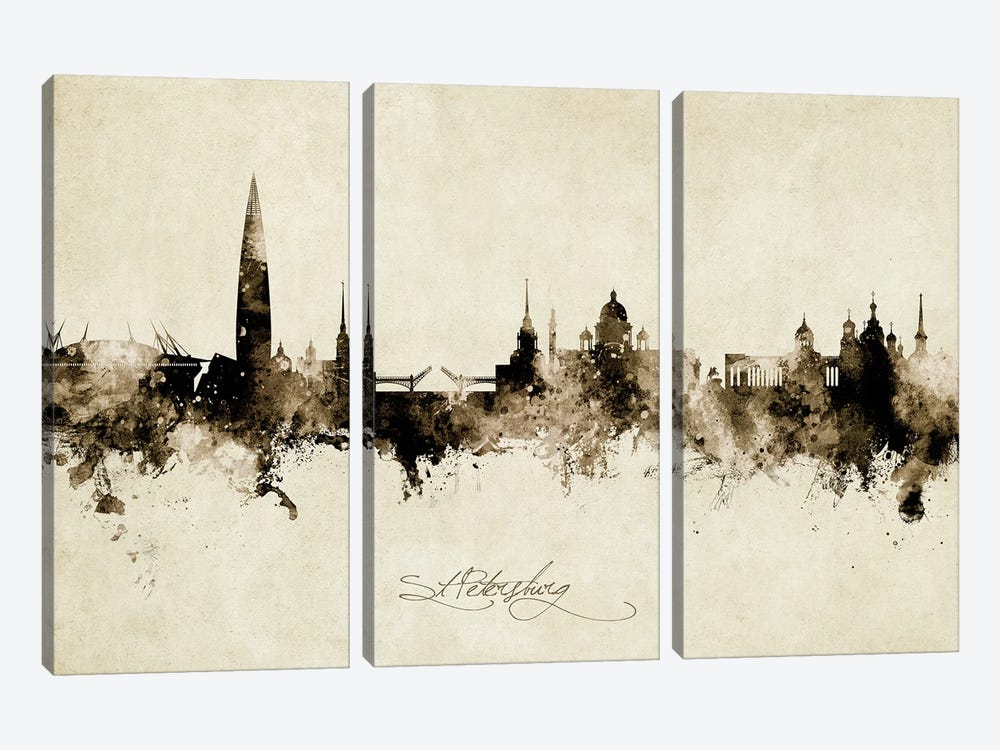 St Petersburg Russia Skyline Vintage by Michael Tompsett 3-piece Canvas Art Print