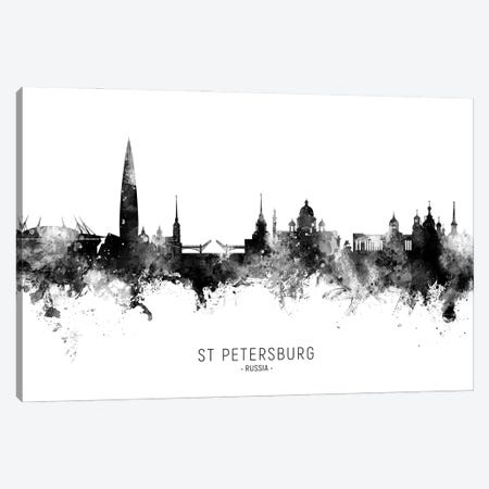 St Petersburg Russia Skyline Name Bw Canvas Print #MTO3041} by Michael Tompsett Canvas Print