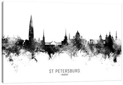 St Petersburg Russia Skyline Name Bw Canvas Art Print