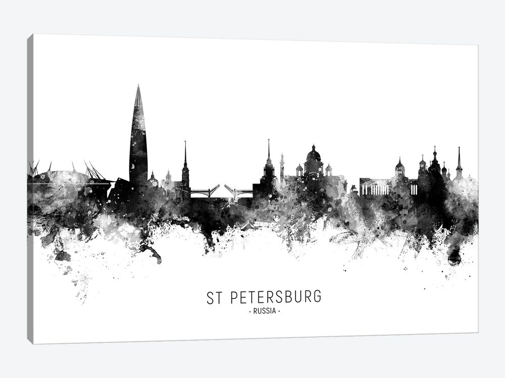 St Petersburg Russia Skyline Name Bw by Michael Tompsett 1-piece Canvas Art