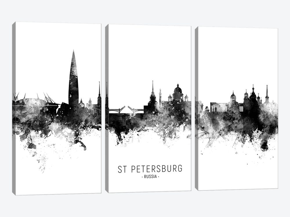 St Petersburg Russia Skyline Name Bw by Michael Tompsett 3-piece Canvas Wall Art