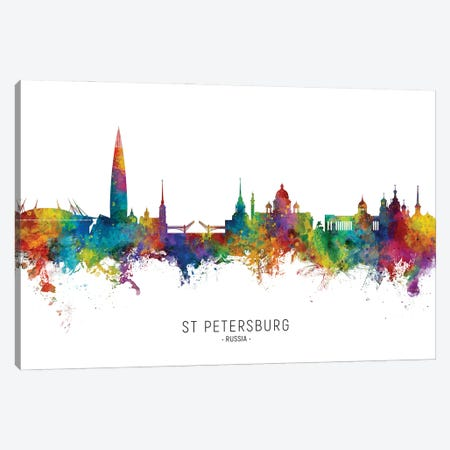 St Petersburg Russia Skyline City Name Canvas Print #MTO3042} by Michael Tompsett Art Print