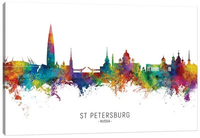 St Petersburg Russia Skyline City Name Canvas Art Print