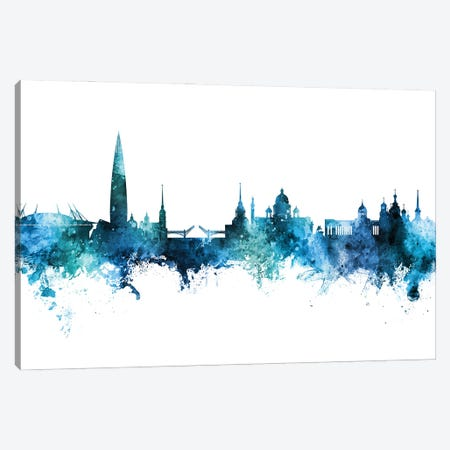 St Petersburg Russia Skyline Blue Teal Canvas Print #MTO3043} by Michael Tompsett Canvas Art Print