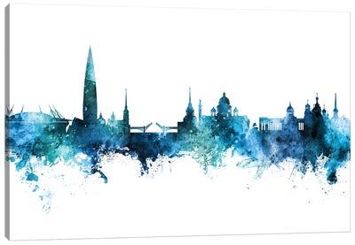 St Petersburg Russia Skyline Blue Teal Canvas Art Print
