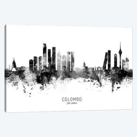 Colombo Sri Lanka Skyline Name Bw Canvas Print #MTO3046} by Michael Tompsett Canvas Wall Art