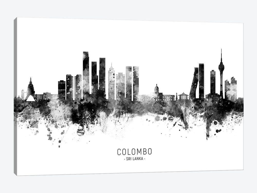 Colombo Sri Lanka Skyline Name Bw by Michael Tompsett 1-piece Canvas Art Print