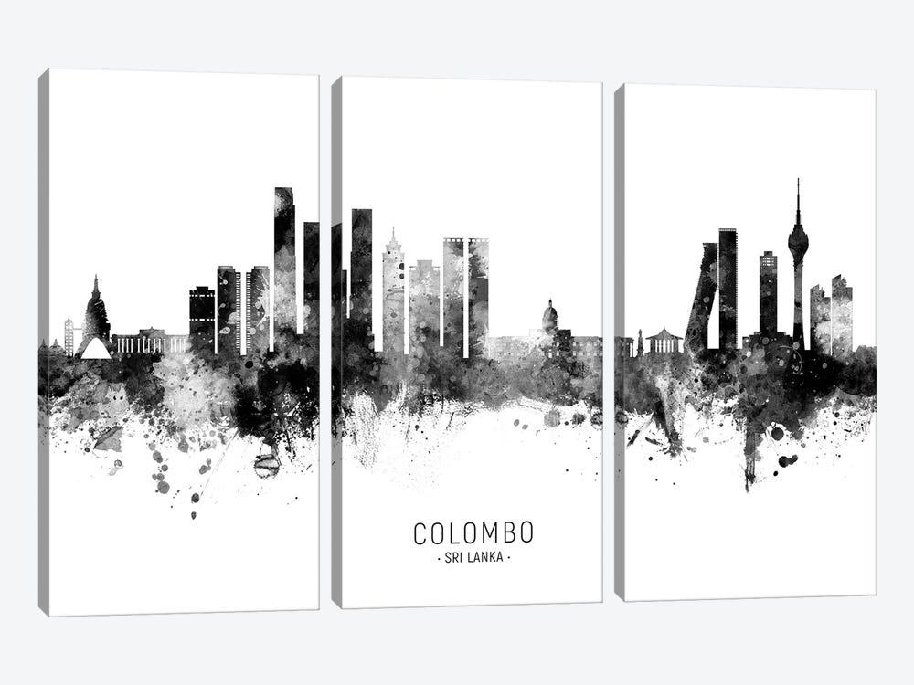 Colombo Sri Lanka Skyline Name Bw by Michael Tompsett 3-piece Canvas Art Print