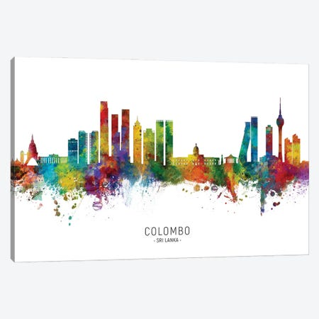 Colombo Sri Lanka Skyline City Name Canvas Print #MTO3047} by Michael Tompsett Canvas Artwork