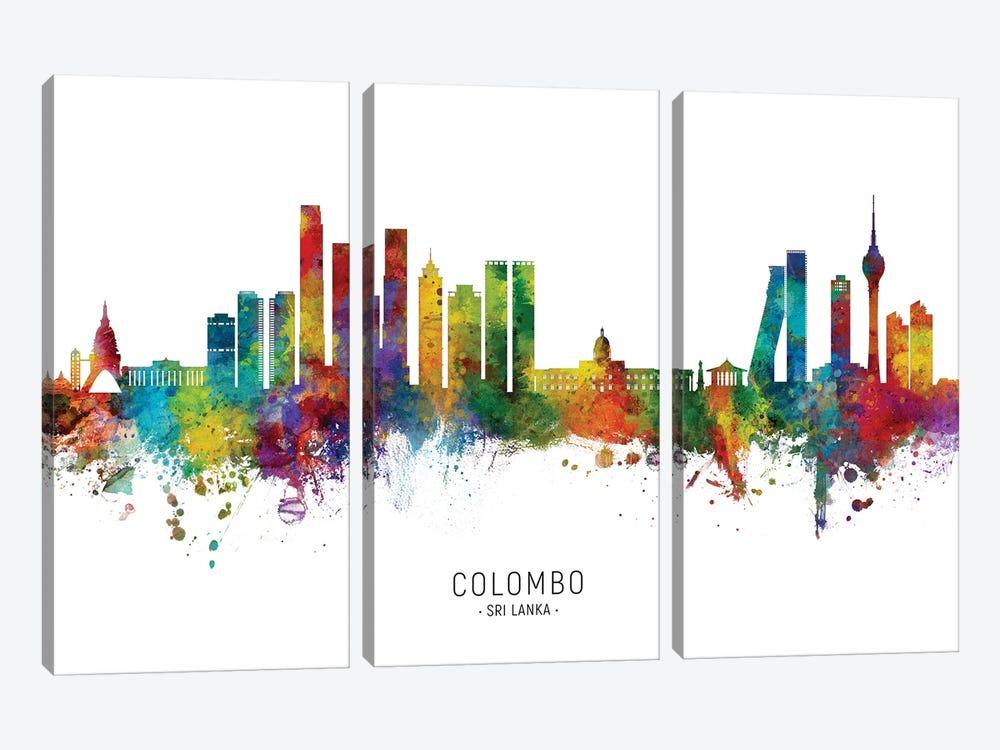 Colombo Sri Lanka Skyline City Name by Michael Tompsett 3-piece Canvas Art