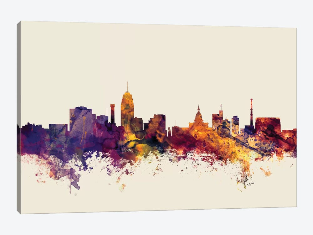 Lansing, Michigan, USA On Beige by Michael Tompsett 1-piece Canvas Print