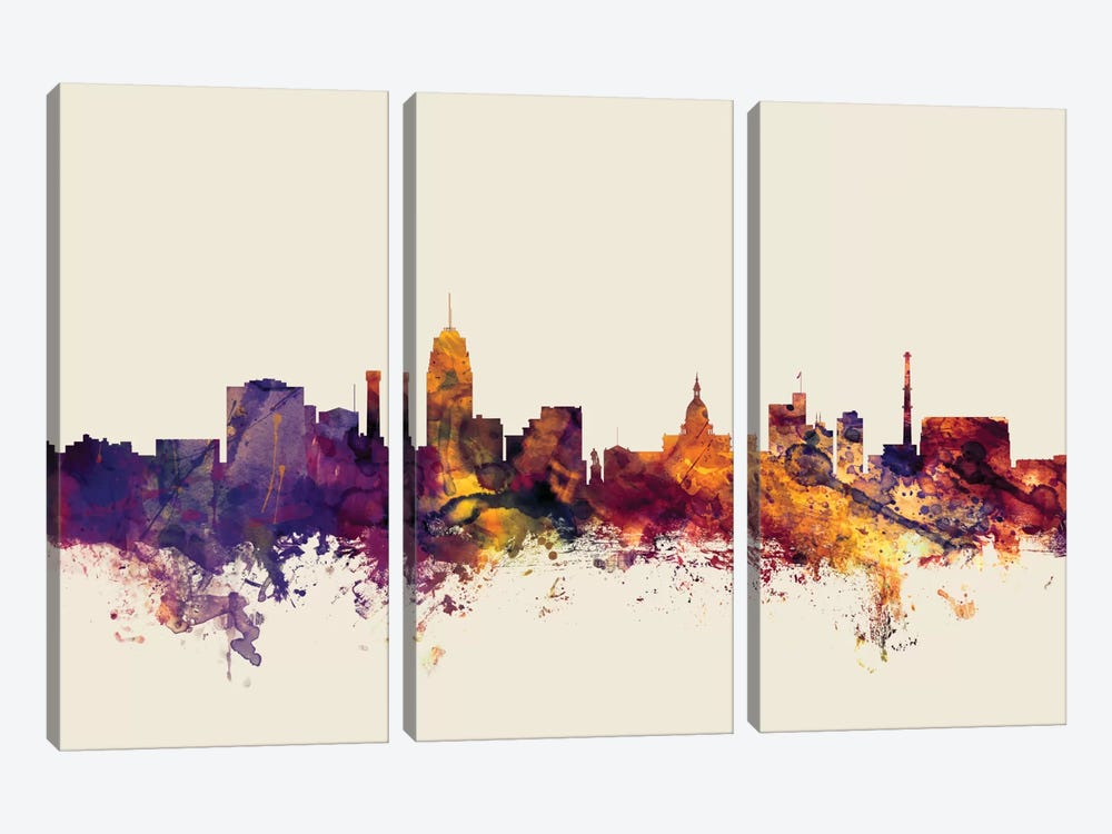 Lansing, Michigan, USA On Beige by Michael Tompsett 3-piece Canvas Art Print