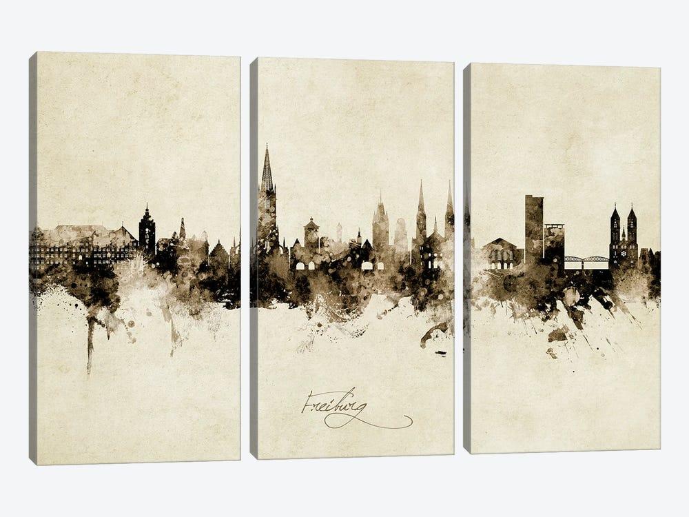 Freiburg Deutschland Skyline Vintage by Michael Tompsett 3-piece Canvas Artwork