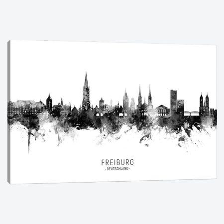 Freiburg Deutschland Skyline Name Bw Canvas Print #MTO3051} by Michael Tompsett Canvas Wall Art