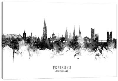 Freiburg Deutschland Skyline Name Bw Canvas Art Print