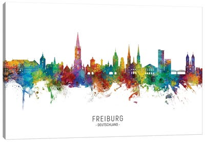Freiburg Deutschland Skyline City Name Canvas Art Print