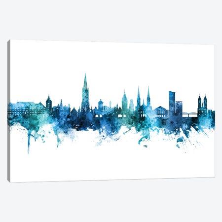 Freiburg Deutschland Skyline Blue Teal Canvas Print #MTO3053} by Michael Tompsett Canvas Artwork