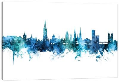 Freiburg Deutschland Skyline Blue Teal Canvas Art Print