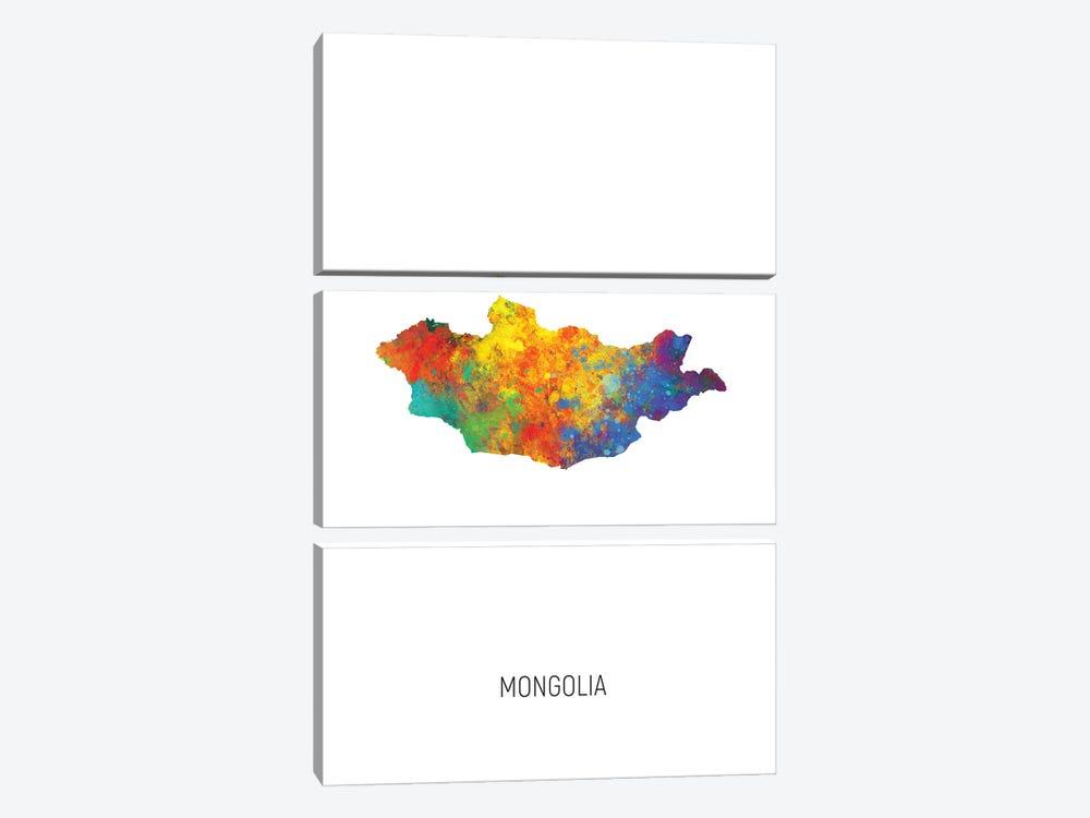 Mongolia Map by Michael Tompsett 3-piece Canvas Art Print