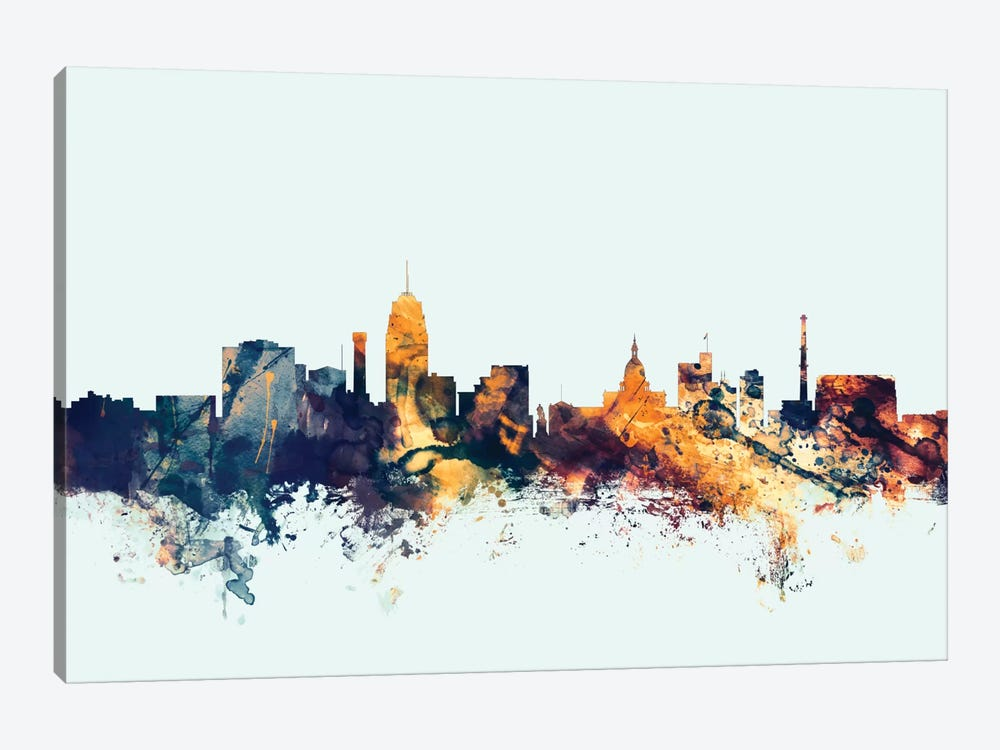 Lansing, Michigan, USA On Blue by Michael Tompsett 1-piece Canvas Wall Art