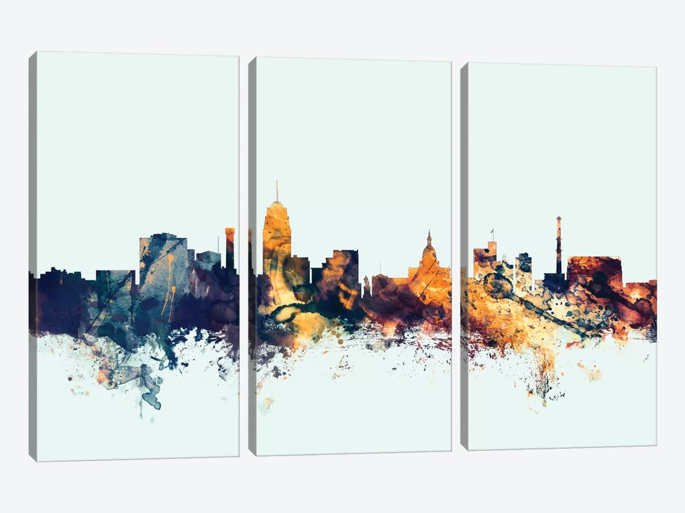 Lansing, Michigan, USA On Blue by Michael Tompsett 3-piece Canvas Artwork