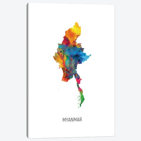 Myanmar Map Canvas Print #MTO3061} by Michael Tompsett Canvas Art Print