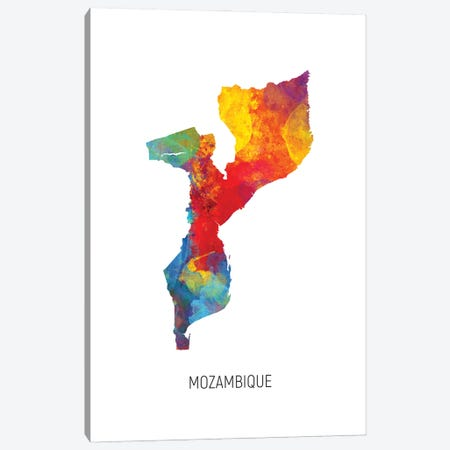 Mozambique Map Canvas Print #MTO3062} by Michael Tompsett Canvas Print