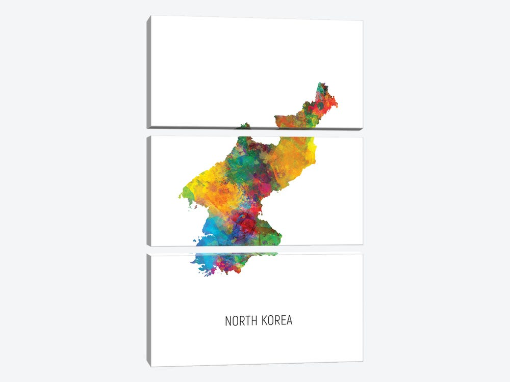North Korea Map by Michael Tompsett 3-piece Canvas Art
