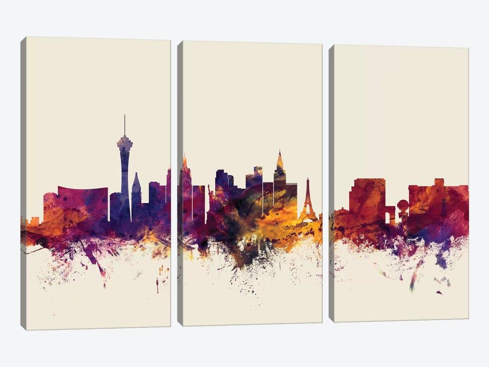 Las Vegas, Nevada, USA On Beige by Michael Tompsett 3-piece Canvas Print